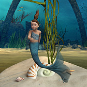 Little Mermaid Digital Art - Little Mermaid by Design Windmill
