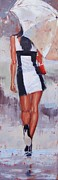 White Dress Painting Originals - Little Red Bag Two by Laura Lee Zanghetti