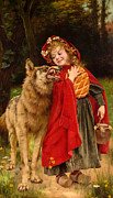 Red Riding Hood Paintings - Little Red Riding Hood by Gabriel Joseph Marie Augustin Ferrier