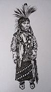Tribe Drawings Prints - Little Tribesman Print by Leslie Manley