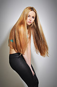 Long Blonde Hair Prints - Liuda15 Print by Yhun Suarez