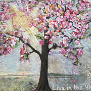 Pink Blossoms Mixed Media Posters - Live in the Sunshine Poster by Blenda Studio