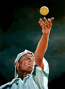 Baseball Player Painting Framed Prints - Lleyton Hewitt Framed Print by Paul  Meijering