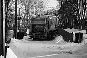 Local Posters - Local Waste Collection Lorry Collecting From Snow Covered Residential Street Kirkenes Finnmark Norwa Poster by Joe Fox