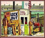 Workers Drawings Posters - Locked Out Workers Bearing Their Cross Poster by Ray Tapajna