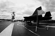 Manhatan Prints - Lockheed A12 Blackbird on the flight deck of the USS Intrepid at the Intrepid Sea Air Space Museum Print by Joe Fox