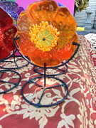 Handmade Glass Flower Glass Art - Lolli-Poppies by Anne Nye