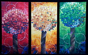 Tryptych Originals - Lollipop Trees by Shiela Gosselin