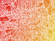 Cartography Digital Art Prints - London England Street Map Print by Michael Tompsett