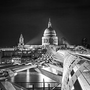 London Skyline Art - London Nightlights Millennium Bridge and St. Pauls Cathedral by Vincent Sluiter
