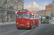 Streetscene Paintings - London Transport Q type. by Mike  Jeffries
