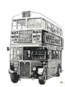 Ink Drawing Paintings - London Transport RT1. by Mike  Jeffries