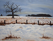 Drifting Snow Painting Prints - Lone Tree in Winter Print by Monica Veraguth