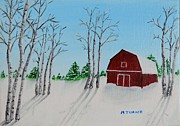 Snow On Barn Posters - Lonely Barn Poster by Melvin Turner