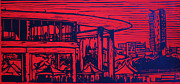 Linocut Metal Prints - Long Center Metal Print by William Cauthern