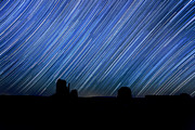 States Pyrography Posters - Long Exposure Star Trail Image at Night Poster by Katrina Brown