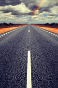 Road Photo Posters - Long Straight Road with Gathering Storm Clouds Poster by Colin and Linda McKie