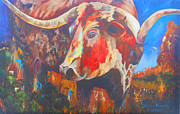 Fort Worth Painting Prints - Longhorn Bull Business Print by Karen Kennedy Chatham