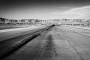 Looking Down Framed Prints - looking down the runway at McCarran International airport Las Vegas Nevada USA Framed Print by Joe Fox