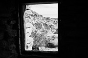 Civilian Prints - Looking Out Through Window From Interior Of Historic Stone Cabin Built By The Civilian Conservation  Print by Joe Fox