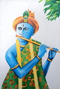 Lord Drawings Metal Prints - Lord Krishna Metal Print by Tanmay Singh