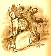 Featured Drawings - Lore of the Indian by Gary Kelty