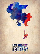 Los Angeles Mixed Media Metal Prints - Los Angeles Watercolor Map 1 Metal Print by Irina  March