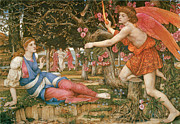 Angel Art Paintings - Love and the Maiden by John Roddam Spencer-Stanhope