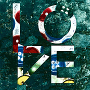 Digital Collage Posters - Love Poster by Bonnie Bruno