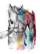 Young Man Drawings - Love Colors 5 by Mark Ashkenazi