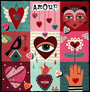 Folk  Paintings - Love Heart Quilt by LuLu Mypinkturtle