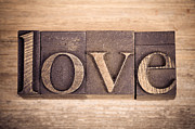 Words Background Posters - Love in printing blocks Poster by Jane Rix