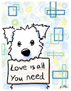 Dog Lover Digital Art Posters - Love Is All You Need Poster by Kim Niles