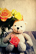 Teddy Bear Mixed Media - Love me by Angela Doelling AD DESIGN Photo and PhotoArt