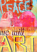 Industrial Mixed Media Posters - Love Peace Art Poster by Anahi DeCanio