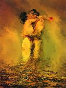 Figurative Metal Prints - Lovers Metal Print by Kurt Van Wagner