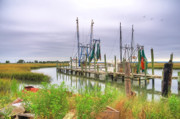 Grass Reflection Framed Prints - Lowcountry Shrimp Dock Framed Print by Scott Hansen