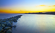 Lowestoft Metal Prints - Lowestoft Breakwater Metal Print by Michael Stretton