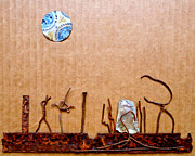 Cardboard Mixed Media - Lubbock Moon by Mo McMorrow