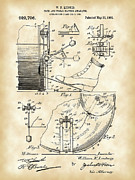 Skins Framed Prints - Ludwig Drum and Cymbal Foot Pedal Patent Framed Print by Stephen Younts