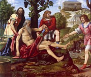 Grapes Art Prints - Luini Bernardino, Ham Mocking Noah Print by Everett