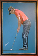 Famous Golfers Framed Prints - Luke Donald Framed Print by Mark Robinson