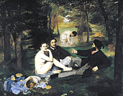 Images Of Woman Framed Prints - Luncheon On The Grass Framed Print by Edouard Manet