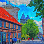 Old Town Digital Art Prints - Lund street scene Print by Antony McAulay