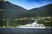 Docked Boat Prints - Luxury yacht at the coast of French Riviera Print by Elena Elisseeva