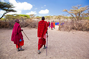 Apparel Posters - Maasai people and their village in Tanzania Poster by Michal Bednarek