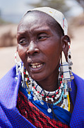 Apparel Posters - Maasai woman portrait in Tanzania Poster by Michal Bednarek