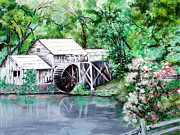 Mabry Mill Paintings - Mabry Mill by Vickie Wright