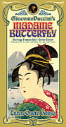 Vintage Typography Digital Art Metal Prints - Madame Butterfly Metal Print by Gary Grayson