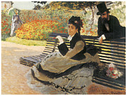 Woman In A Dress Metal Prints - Madame Monet on a Garden Bench Metal Print by Claude Monet
